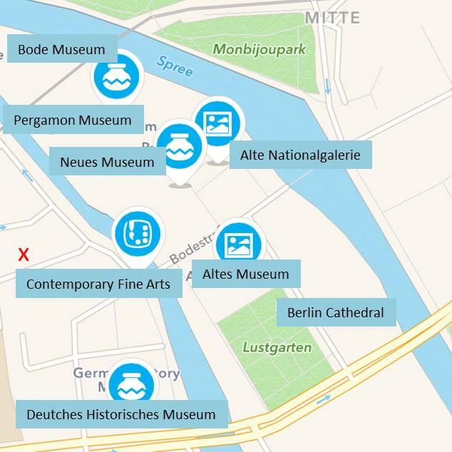 Berlin Müzeler Adası Harita
