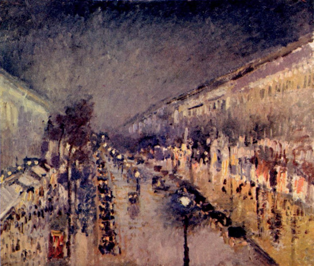 Camille Pisarro The Boulevard Montmartre at Night