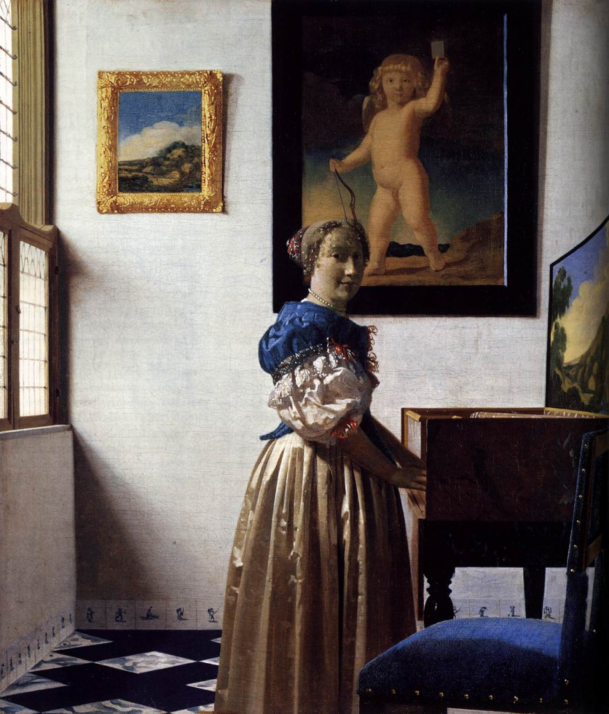 a young woman standing at a virginal johannes vermeer