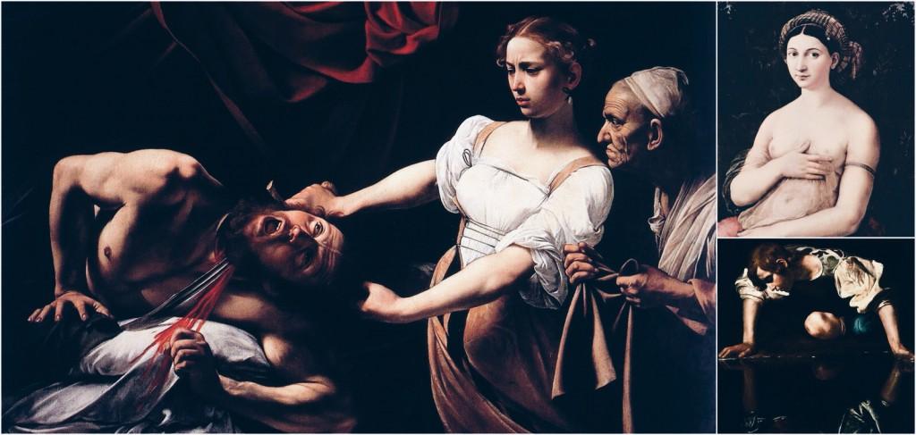 Solda Caravaggio'dan Judith Beheading Holofernes, Sağ Üst Raffaello'dan Fornarina ve Sağ Alt Caravaggio'dan Narcissus