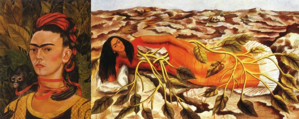 "Solda ""Self Portrait with Monkey"", Sağda ""Frida Roots"""