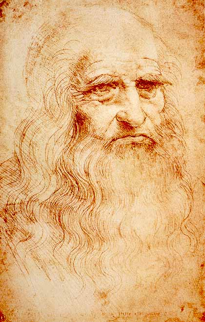 Self-portrait with Red Chalk, Leonardo da Vinci, Royal Lİbrary, Torino, İtalya