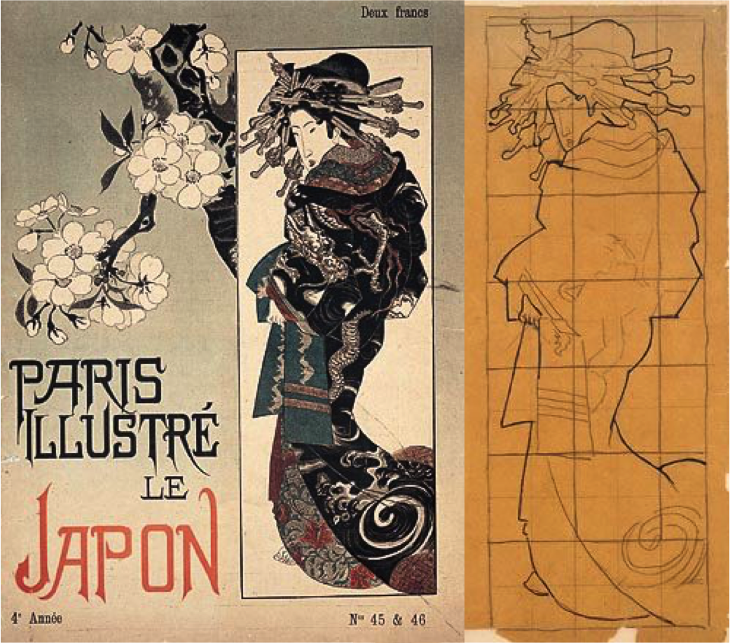1886'da Paris Illustre dergisinin kapağından yayınlanan çizim ve yanda Van Gogh'un çıkarttığı kopya